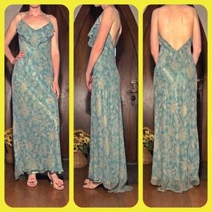 Laundry silk dress with sheer overlay and beading